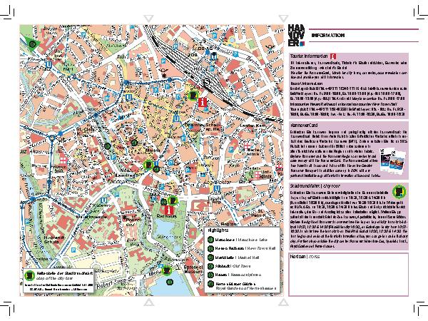 Map of city centre | Information and Downloads | Tourist Information City Centre Map on