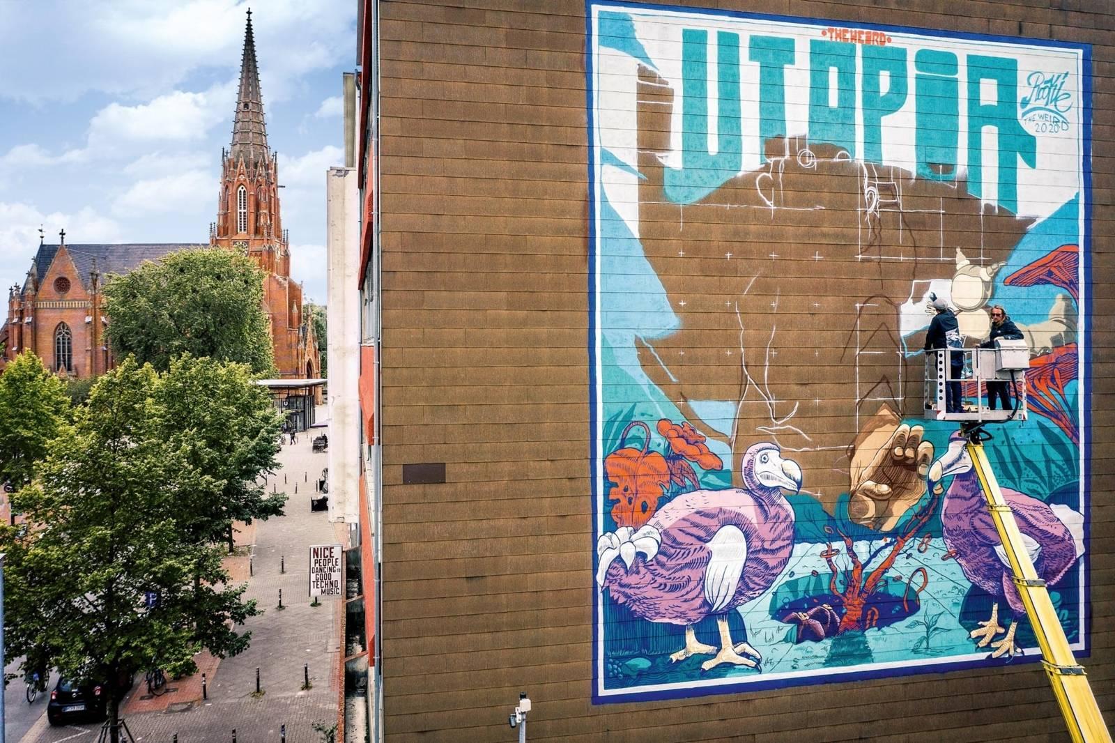 Großes Mural in der Nordstadt zum Hola Utopia 2020