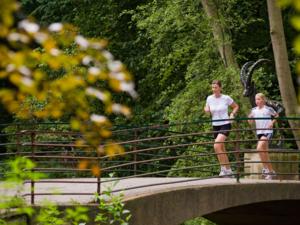 Jogger auf einer Brücke am Waldrand