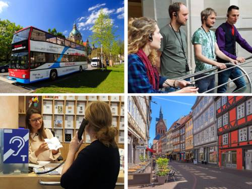 Collage aus Stadtrundfahrt-Bus, Menschen am Hannover-Stadtmodell, Beratungssituation und Altstadt