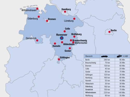 Hannover - zentrale Lage in Niedersachsen