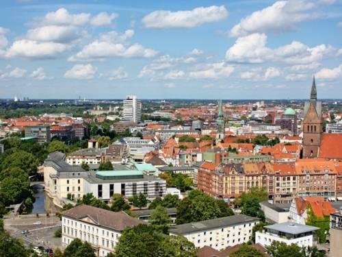 Teilansicht von Hannovers Innenstadt aus der Luft