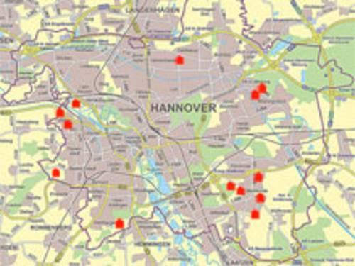 Kartenausschnitt mit den Baugebieten in Hannover