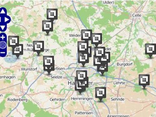 Karte mit Markierungen für Badeseen