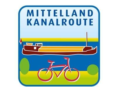 Zeichnung / Logo: Ein Fahrrad an einem Kanal, auf dem sich ein Schiff befindet.