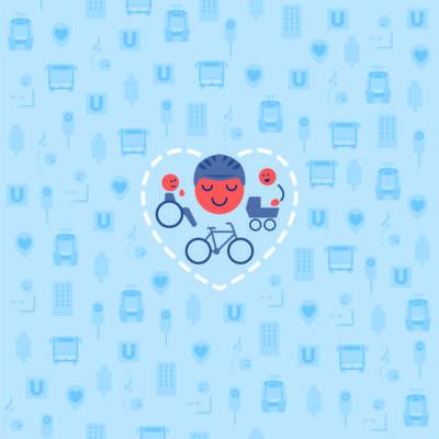 Eine stilisierte Zeichnung mit Köpfen, Rollstuhl, Fahrrad und Kinderwagen, alle umrahmt von einem Herz.