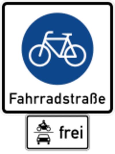 Schild: Fahrradstraße mit Freigabe für den motorisierten Verkehr