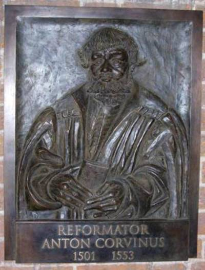 Bronzetafel zur Erinnerung an Antonius Corvinus