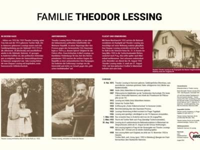 """Gedenktafel für die Familie Theodor Lessing vor dem Hauseingangsbereich """"Am Tiergarten 44"""""""