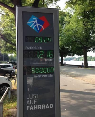 Automatische Zählstelle für Fahrräder an einem Radweg
