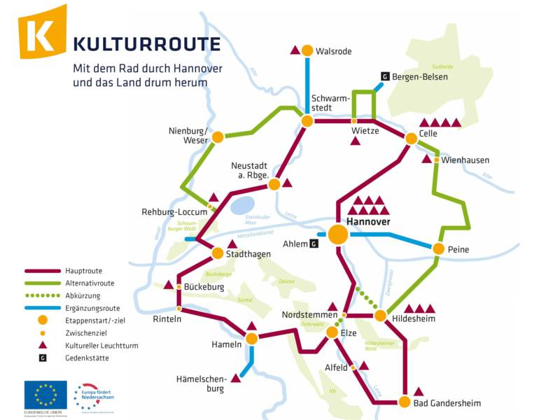 Vereinfachte Kartendarstellung mit den einzelnen Strecken der Kulturroute.