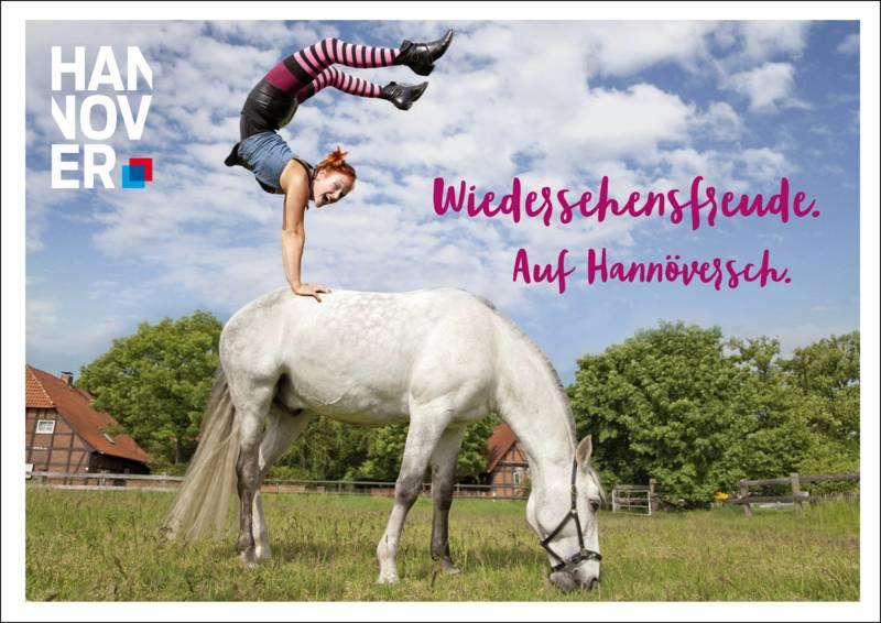 Ein Mädchen macht einen Handstandauf einem Pferd.