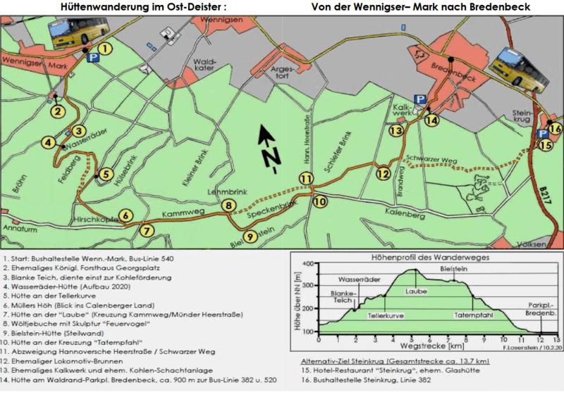 Karte Hüttenwanderung im Deister