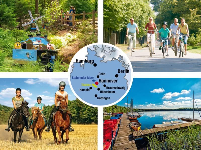 Wasserräder, Radfahrer, Reiterinnen, See