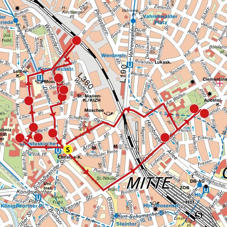 Karte zum Streetart-Ausflug durch Hannover