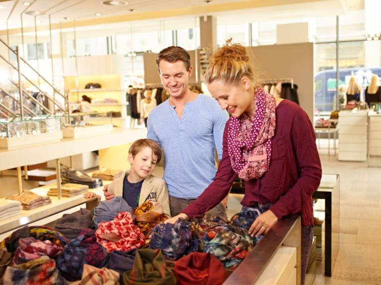 family at shopping