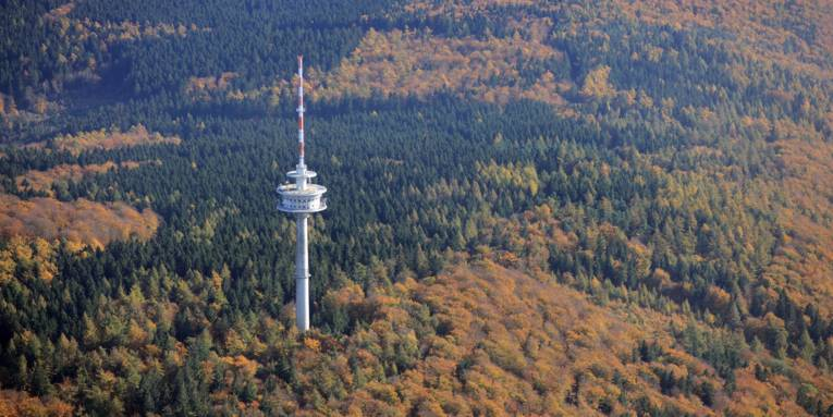 Luftbild eines Höhenzuges mit einem Laub-/Nadelwald im Herbst und einem Funkturm
