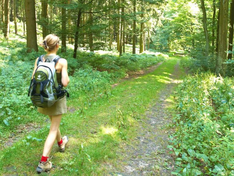 Eine Frau mit Rucksack wandert auf einem Waldweg.