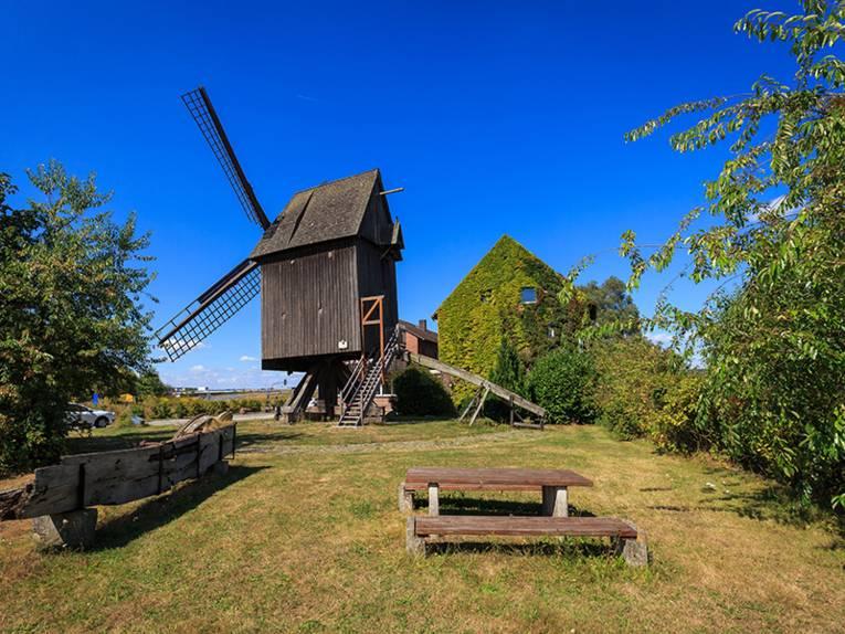 Eine alte Mühle aus Holz im Grünen mit Parkbänken in der Umgebung.