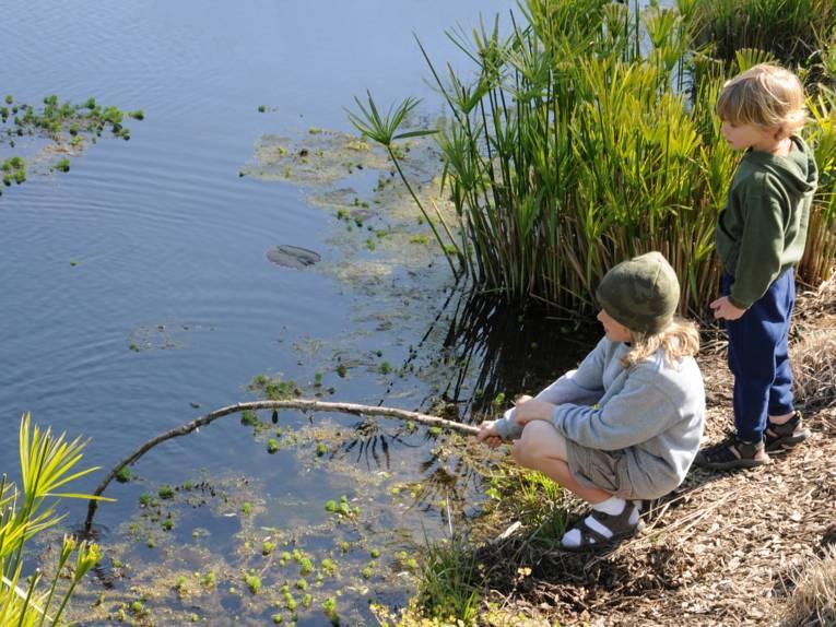 Kinder beim Entdecken am See
