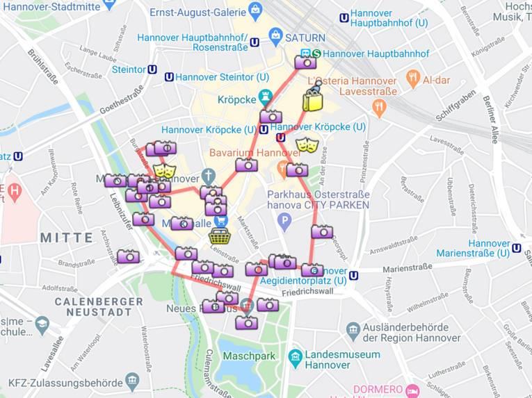 Die Route des Roten Faden auf einer Karte