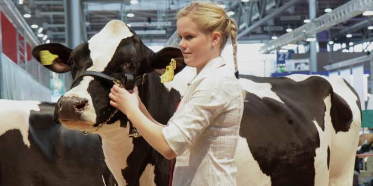 Eine Frau und eine Kuh