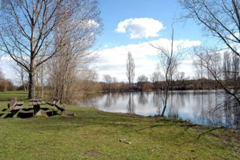 Ein See in dem sich der blaue Himmel spiegelt, im Vordergrund eine Wiese mit einem Tisch und Bänken aus Holz.