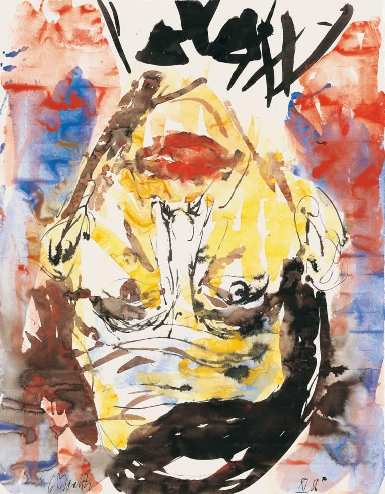 Georg Baselitz (*1938 Deutschbaselitz), Ernst Ludwig Kirchner, 2006, Tuschfeder, Aquarell und Tusche auf Papier, 65,7 x 50,6 cm © Georg Baselitz