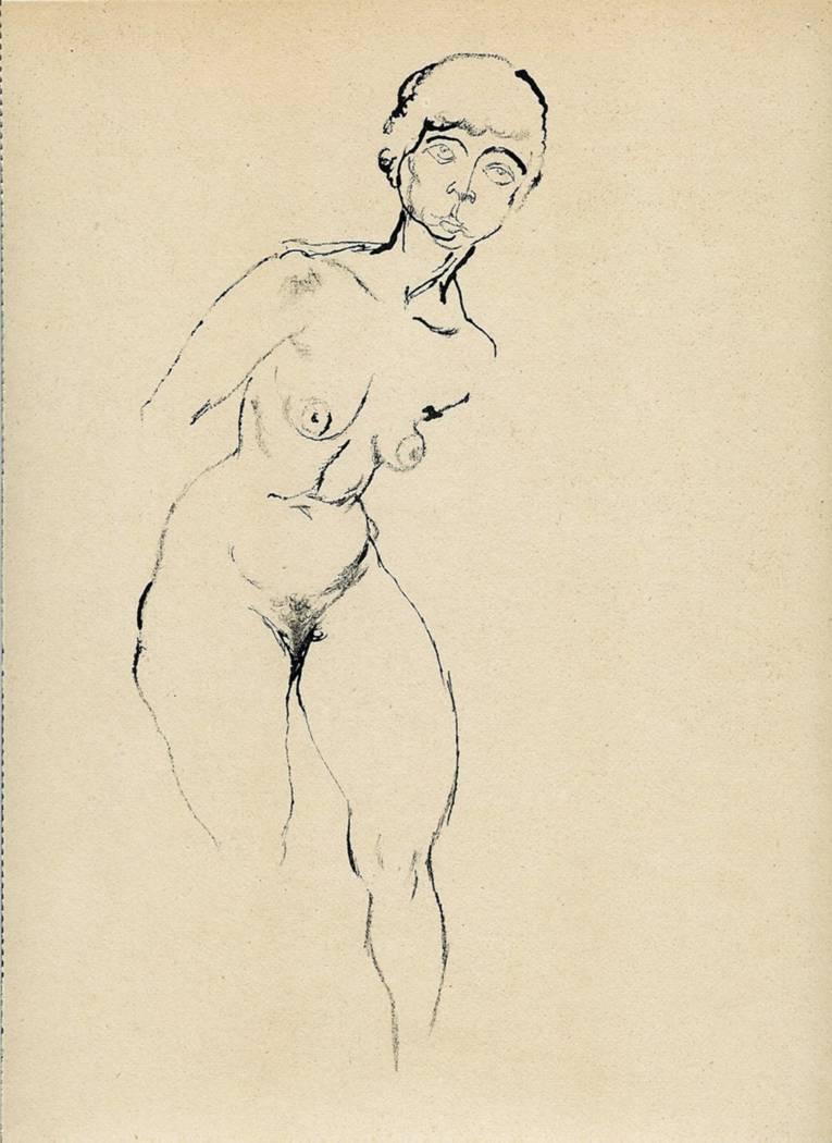 George Grosz (1893 – 1959), Stehender weiblicher Akt, 1914, Rohrfeder und Bleistift auf Skizzenbuchpapier © VG Bild-Kunst, Bonn 2014