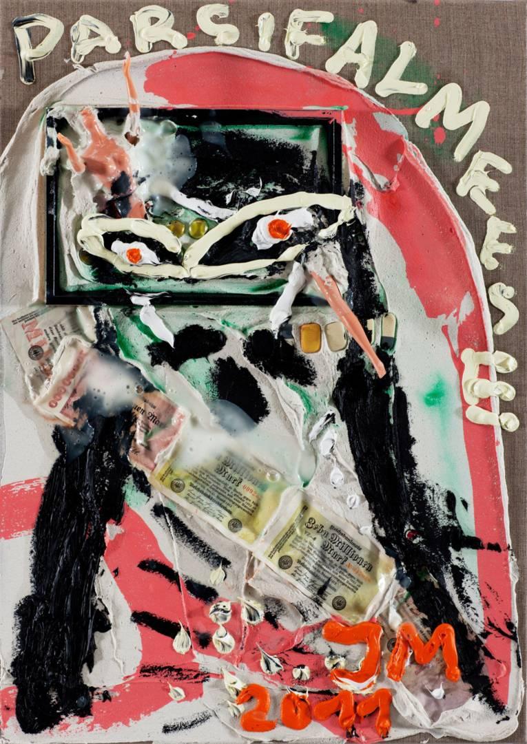 Jonathan Meese (*1970 Tokio), Kein Club, 2011, Öl, Acryl-Spachtel, Acryl mit mixed media auf Leinwand, 70,3 x 50 x 2,3 cm © VG Bild-Kunst, Bonn 2014