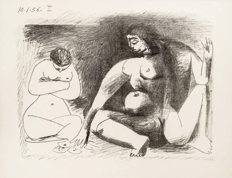 Pablo Picasso (1881 – 1973), Deux Femmes accroupies, 1956, Lithographie, 44 x 55 cm © VG Bild-Kunst, Bonn 2014