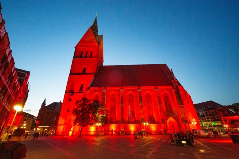 Außenansicht Marktkirche während der Night of Light