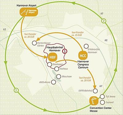 """Übersichtskarte Hannover 1. Der """"Rote Faden"""": 36 Sehenswürdigkeiten auf 4.200 Metern Fußweg. 2. Hannover ist mit S-Bahn, U-Bahn und Stadtbussen komplett und komfortabel erschlossen."""