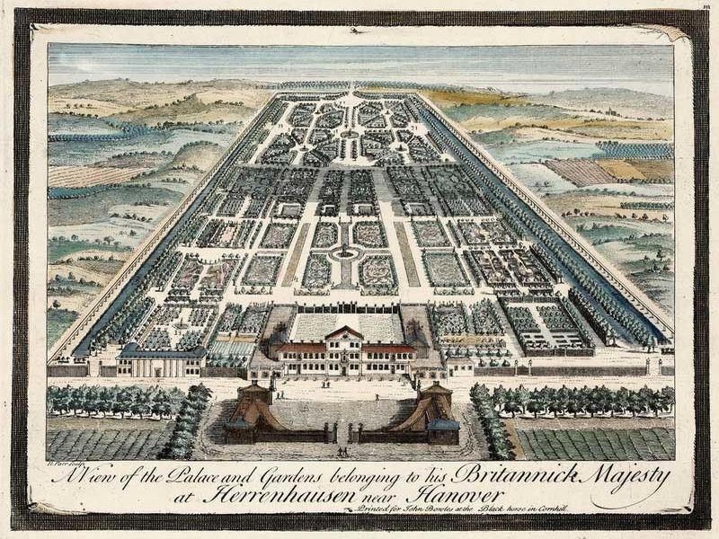 Print of the garden and the palace in Herrenhausen around 1745